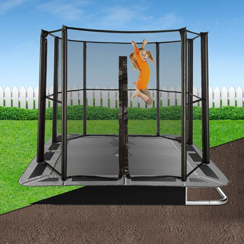 INGROUND TRAMPOLINE 10 x 6 FT RECTANGULAR GREY