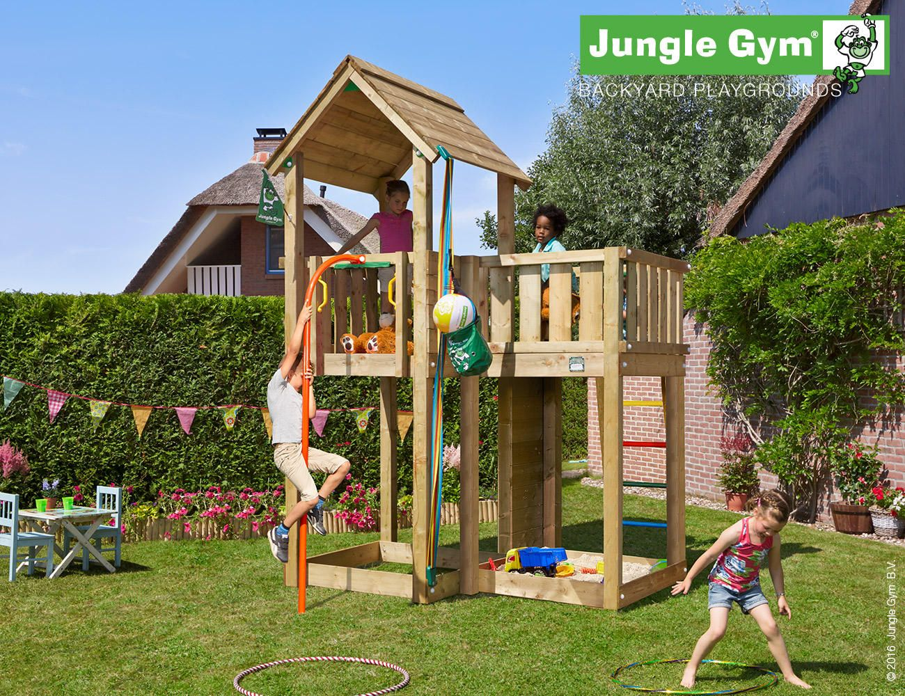 Mansion Climbing Frame With Firemans Pole Play And Sports